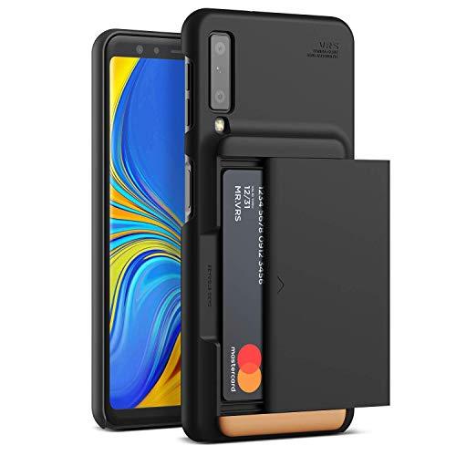 Funda para Galaxy A7 2018, diseño VRS [Negro Mate] semiautomática de Patente Estadounidense [Damda Glide X D.Wallet] Soporte Seguro para 2 Tarjetas Compatible con Galaxy A7 2018