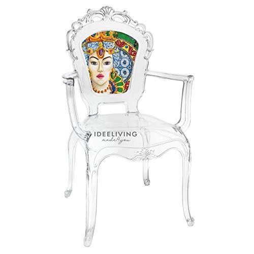 Sessel aus Polycarbonat mit Armlehnen, Kollektion Baroque & Rock Sicily von Baci Milano – Damen grün