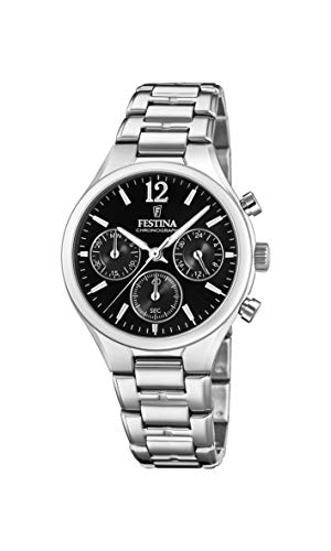 Festina Damen Chronograph Quarz Uhr mit Edelstahl Armband F20391/4