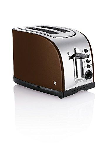 WMF Terra Toaster Edelstahl, Doppelschlitz Toaster mit Brötchenaufsatz, 2 Scheiben, Bagel-Funktion, 7 Bräunungsstufen, 980 W, edelstahl matt, braun