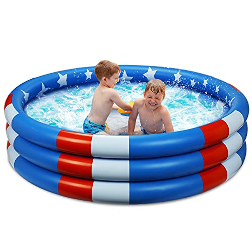 Inflatable Kiddie Pool, 3 Rings Kids Swimming Pools Summer Stars Baby Toddlers Pool for Backyard Garden Beach Kids and Adults Paddling Pool Indoor&Outdoor Party Water Fun (49''x12'')