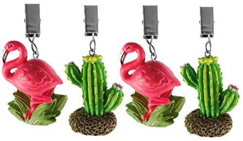 My-goodbuy24 Tischdeckenbeschwerer mit Klammer - 4er Set - Tischdeckenhalter Garten Tischdeckenklammern Tischtuch Clips - Polystone - Flamingo mit Kaktus