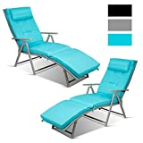 Tangkula 2 PCS Outdoor Folding Chaise Lounge Chair, Lightweight Recliner Chair w/ 7 Adjustable Backrest Positions, Patio Reclining Beach w/Removable Cushion & Pillow for Patio Poolside (Turquoise)