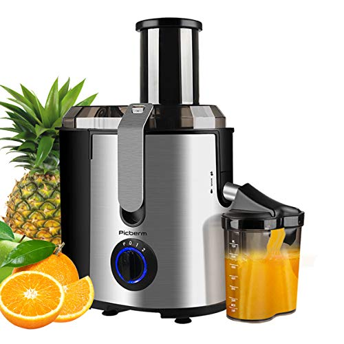 """Juicer, Picberm Centrifugal Juicer Machines Easy to Clean, 3""""Wide Feed Chute Juice Extractor with Peeler, Brush & Recipes for Whole Fruits and Vegetables, Dual Speed Stainless Steel BPA-Free Anti-drip Juicers Dishwasher Safe, 800 W"""