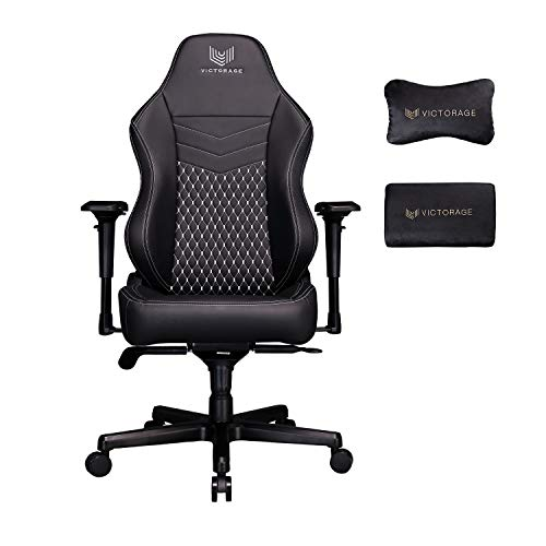 VICTORAGE Gaming Chairs Racing Office Computer Game Chair with Headrest and Lumbar Pillow Echo VE Series PU Leather (Black Diamond)