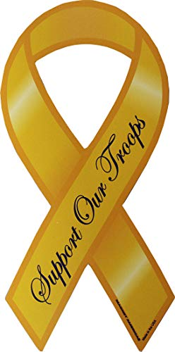 Flagline Support Our Troops - 4 in x 8 in Yellow Ribbon Magnet