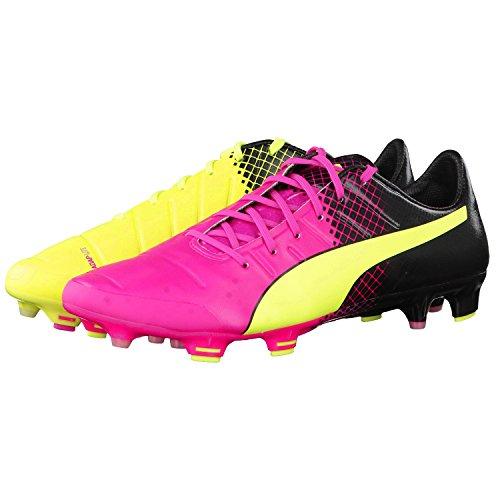 Puma evoPOWER 1.3 Tricks FG Football Boots - Pink Glo/Safety Yellow - Size 11.5 UK - 46.5 EU
