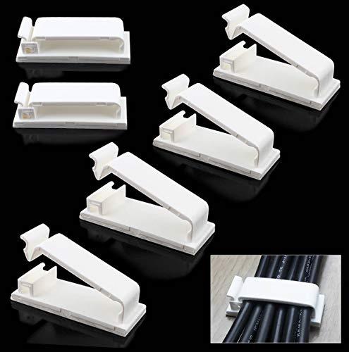 Selbstklebende Drahtklammern-Kabelklemmen Klebend Ethernet Clips-Kabel Halterungen-Auto Kabelhalter, 50 Stück, Weiß