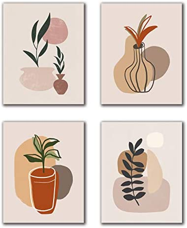 VOUORON Modern Mid Century Neutral Boho Art Painting Set of 4 8 X10 Canvas Picture Woman Abstract product image