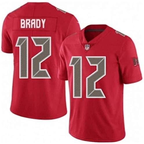 PUCQ Outdoor Rugby-Trikot Tom Brady # 12 Tampa Bay Buccaneers Fußballtrikot Unisex Sports Kurzarm-Sweatshirt Fitness Atmungsaktive Stickerei-rot_XXX-groß