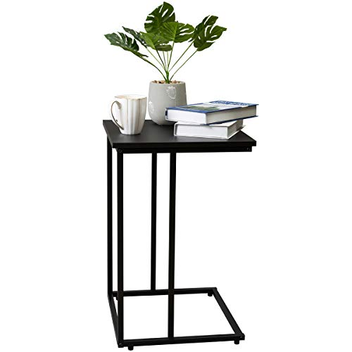 Marble Field C Shaped Snack End Table, Modern Accent Couch Side Table for Living Room Bedroom, Sturdy Metal Finish, 15.7'x 15.7'x24', Black