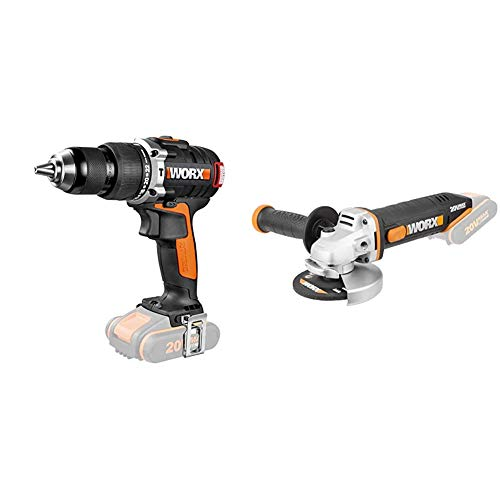 Worx WX373.9Taladro Percutor Brushless 20V S/bat + WX800.9Amoladora angular radial 115mm 20V, 8600RPM, 1 disco de corte metal, 20 V