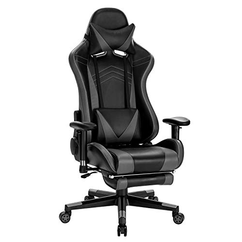 WOLTU BS93gr Gaming Stuhl Racing Stuhl Bürostuhl Computer Stuhl PC Stuhl Arbeitsstuhl Chefsessel Drehstuhl höhenverstellbar mit Armlehnen mit Kopfkissen Lendenstütze Fußstütze aus Kunstleder Grau