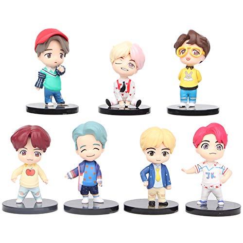 REYOK BTS Figures Set 7 Stück Bangtan Boys Puppen Geburtstags Party liefert Cupcake Figuren Party Kuchen Dekoration Cake Topper Lieferungen Mini Shadow Tails Charaktere Figur Spielzeug