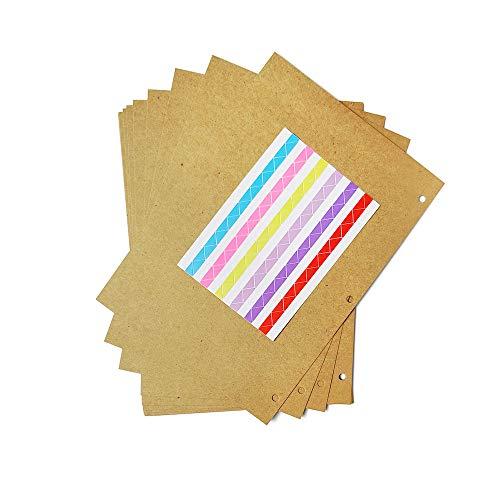 ZEEYUAN Tonkarton 10 Blatt Kraftpapier mit Ringloch Papier Geschenke zum Basteln 18.5 * 26cm DIY-Bedarf für DIY Scrapbooking Dekor