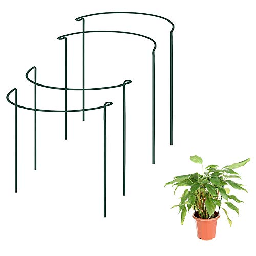 Soporte para plantas semicircular, 4 unidades, anillo de soporte de plantas, aro de metal, borde de jardín, soporte de estaca para peonías, vides y plantas de interior (40 cm, 4 piezas)