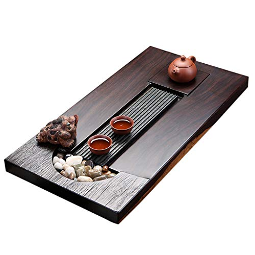 Amazing Deal Solid Wood Tea Tray Simple Ebony Tea Tray Household Tea Set Chinese Kung Fu Tea Tray Ca...