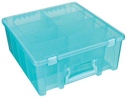 ArtBin Super Satchel Double Deep with Removable Dividers, Aqua Mist Art and Craft Storage Container Box, 6990AA