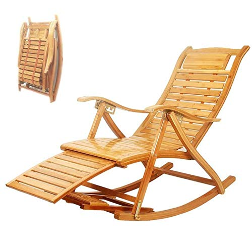 XEWNEGTZI Folding Deck Chair Bamboo Rocking Chair Adjustable Sun Lounger, With Cotton Pad And Retractable Footrest, Portable Outdoor Garden Balcony Recliner, Load 180kg(Color:chair)