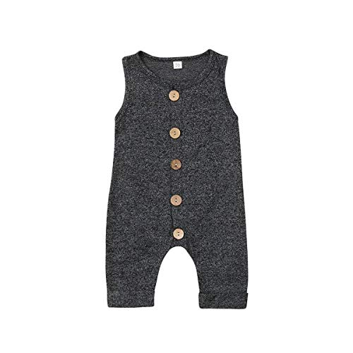 Seyurigaoka One Piece Outfits Baby Grey Striped Rompers with Button Kids Sleeveless Playsuit Jumpsuits Pants Cotton Clothing (Grey Black Overall, 6-12 Months)