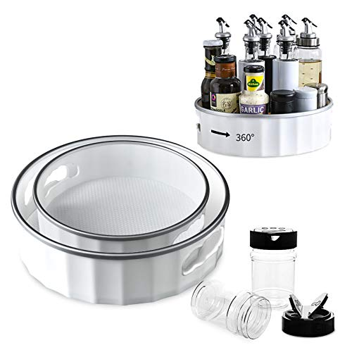 2 Pack 12 Inch Lazy Susan Turntable 9 Inch Cabinet Organizer for Kitchen 360 Rotating Food Storage Container Fridge Pantry Includes 2 Pack Black Cap Plastic 9 Oz Spice Jar Bottles Silver Gray