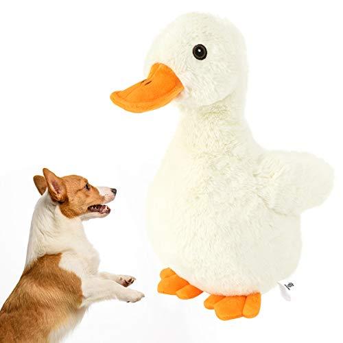 VavoPaw Juguete de Sonidos para Perros, Juguete Peluche Diseño de Pato de Simulación Animal Felpa Blandos con Sonido Chirriante, Papel Fuerte, Jueguete no Tóxico para Masticar Cachorro, Gato - Pato