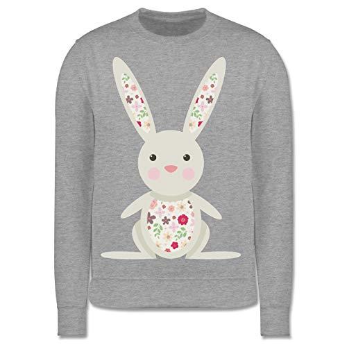 Ostern Kinder - Süßer Hase - Frühlingstiere mit Blumen - 128 (7/8 Jahre) - Grau meliert - Pullover Kinder hase - JH030K - Kinder Pullover