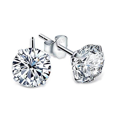 Jaetech House Ohrstecker Silber Damen Ohrringe 925 Sterling Silber Funkeln Kubisches 3A Würfel-Zirkonia Ohrringe für Damen 6mm, Schmuck mit Schmuckkästchen (6mm) MEHRWEG