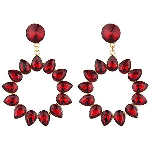 Efulgenz - Set di orecchini pendenti da donna, in stile Bollywood, motivo floreale, colore: marrone