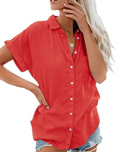 Onsoyours Damen Shirts Kurzarm Tunika Tops Rüschen Einfarbige Blusen Damen V Ausschnitt Gekräuselten Schulter Langarm Lose Chiffon Blusen A Rot Large