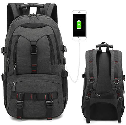 Laptop-Rucksack ist EIN 43,9 cm (17,3 Zoll) Notebook mit USB-Ladeanschluss. Reiserucksäcke mit Multifunktionstaschen, modisch, einbruchsicher, für Herren und Damen. Grau dunkelgrau 14×6.3×21(in)