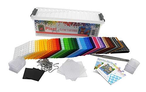 P60001-27501 Pixel kleine Starter Box, Bastelset mit 60 Pixelplatten, 4 Grundplatten, 12 Medaillons mit Kette und 4 Minivorlagenhefte, kinderleichtes Stecksystem