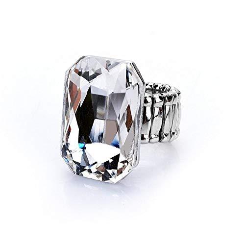 ZBNN Damesring, elegante grote ring voor dames, 7 kleuren, groot glas, steen, modieus, elastisch, stretch, vingerring, sieraad