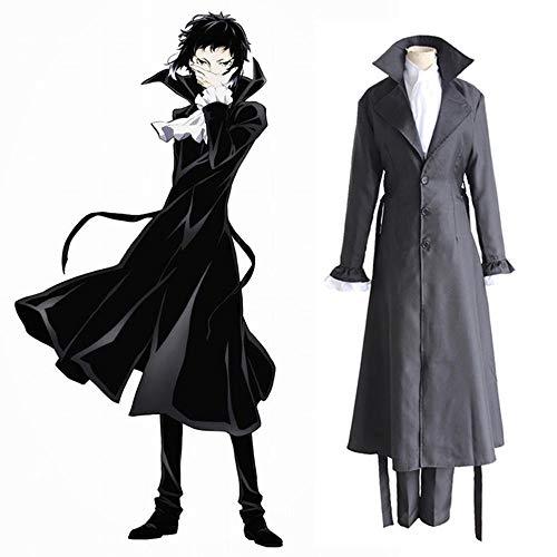 Bungo Stray Dogs Mafia Akutagawa Ryunosuke Cosplay Costume Anime Uniform Long Coat Trench Jacket Halloween Costume