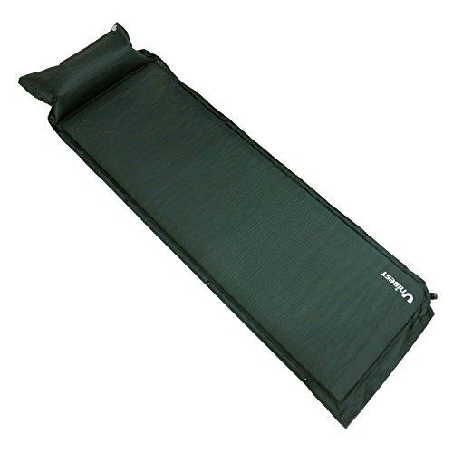 Unibest Isomatte Selbstaufblasende Luftmatratze Luftmatte Einzelperson mit Kissen 200x63x6cm - dunkelgrün