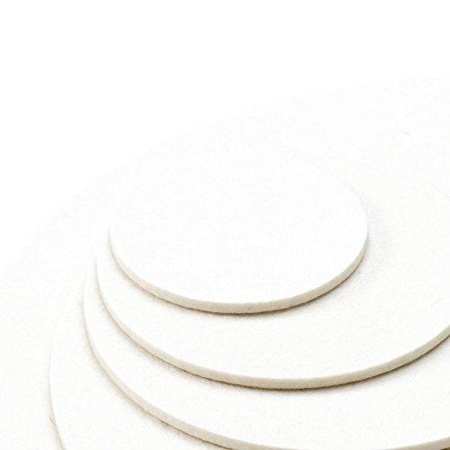 ESTA-Design Dessous de verre rond - Couleur : blanc - 100 % laine mérinos - 5 mm (diamètre : 10 cm)