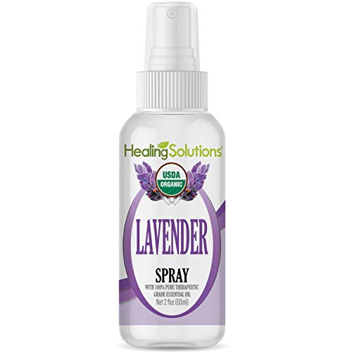 Organic Lavender Spray – Water Infused with Lavender Essential Oil – Certified USDA Organic - 2oz Bottle by Healing Solutions