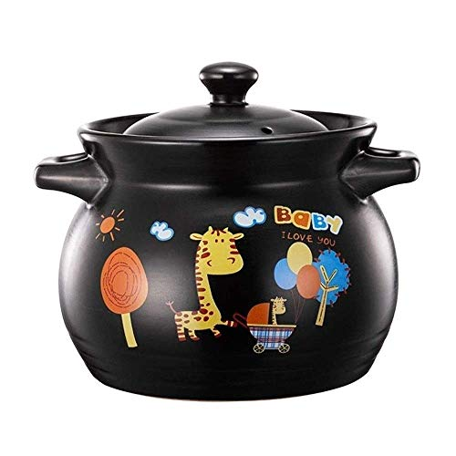 XIAO WEI Durable Ceramic Casserole Household cookware Gas Clay Pot Best for high-Temperature stew Soup (Size: 4.8 l)