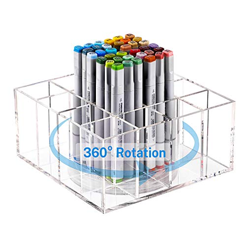 MaxGear 360-Degree Rotating Acrylic Pencil Holder, Multi-Functional Pen Holder for Desk, Clear Makeup Brush Organizer, 16 Compartments Detachable Desktop Organizer, Spinning Art Supply Storage Box