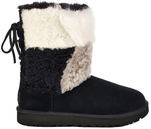 UGG Damen - Stiefel Classic Short Patchwork Fluff Black, Größe:39 EU