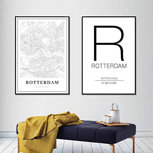 Landkaart van de stad Rotterdam Nederland afdrukken in wit en zwart kunst canvas muurkunst, foto's voor woonkamer decoratie thuis 40 x 60 cm x 2 zonder lijst