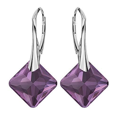 Pendientes de plata de ley 925 con cristales de Swarovski® – Princess – Amatista – Pendientes para mujer – Bonita joya para mujer con caja de regalo