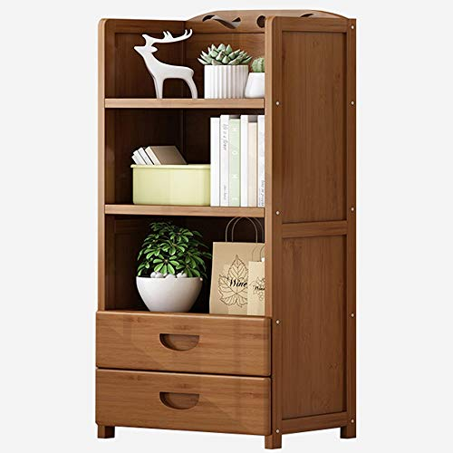 LJFYXZ Librería Vertical Estante bambú Librería Simple con cajón Almacenamiento Multicapa Hogar (尺寸 Size : 90cm)