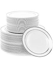 Matana 120 Platos de Plástico Duro Blanco con Borde Plateado - 2 Tamaños