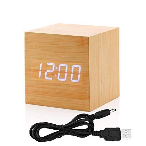 Réveil Électronique LED Boie Contrôle du Son - Mini Réveille-Matin Digital Affichage Heure et Température Charge par USB Réveil pour Bereau Salle de Bains Chambre d'étudiant Acceuil Bambou Imitation
