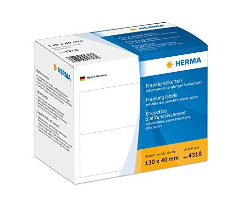 HERMA 4318 Frankieretiketten für Frankiermaschinen, doppelt (130 x 40 mm, Spezialpapier, matt) selbstklebend, permanent haftend, 1.000 Etiketten, weiß