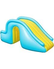 Slacon プール すべり台 インフレータブル ウォータースライド 水スライド 子供用サーフボード プール滑り台 空気入れ 安全 スイミングプール用品 子供のための膨脹可能なおもちゃ屋内/屋外/ビーチ/プール/庭/裏庭 夏のウォーターパーティーに適し