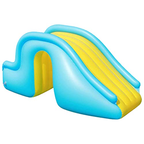 ABCDJHH Centro de natación familiar, piscina hinchable con tobogán de agua hinchable, piscina interior para niños, juguete hinchable para niños, aventura de castillo descarado azul