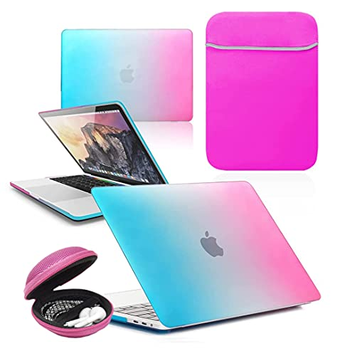 BUNDLE Rubberized HARD SHELL Case with Matching NEOPRENE SLEEVE & Clamshell MP3 EARPHONE CASE for Apple MacBook Pro [13-inch Pro A1502 - A1425 - A1425 (Retina Display) - 2013-2015] [HOT PINK RAINBOW]