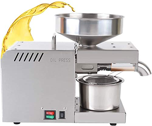 CGOLDENWALL Máquina de prensa automática de aceite de 610 W prensador de aceite de acero inoxidable expulsor de aceite para nueces, nueces, linaza, oliva, almendra, colza, sésamo, 220 V